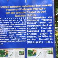 Hinweis auf alten deutschen Friedhof in Rossitten (Ribatschy) Kaliningrad 7